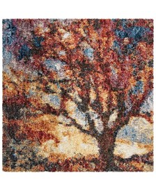 """Gypsy Rust and Blue 6'7"""" x 6'7"""" Square Area Rug"""