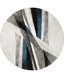 """Safavieh Hollywood Gray and Teal 6'7"""" x 6'7"""" Round Area Rug"""
