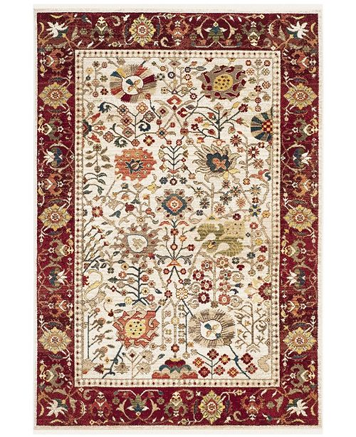 """Safavieh Kashan Ivory and Red 5'1"""" x 7'5"""" Area Rug"""