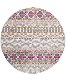"""Madison Gray and Ivory 6'7"""" x 6'7"""" Round Area Rug"""