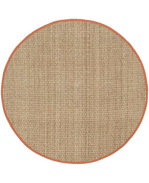 Safavieh Natural Fiber Natural and Rust 6' x 6' Sisal Weave Round Area Rug