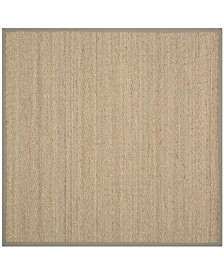 Natural Fiber Natural and Gray 6' x 6' Sisal Weave Square Area Rug