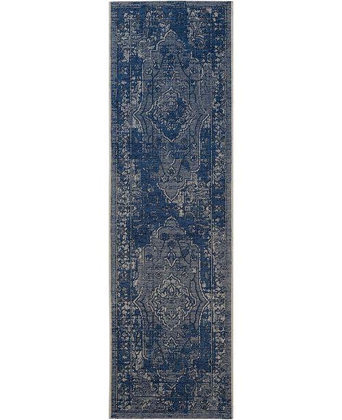 "Safavieh Palazzo Light Blue and Blue 2' x 7'3"" Runner Area Rug"