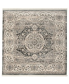 Vintage Persian Dark Gray and Ivory 5' x 5' Square Area Rug