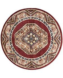"Safavieh Bijar Red and Rust 6'7"" x 6'7"" Round Area Rug"