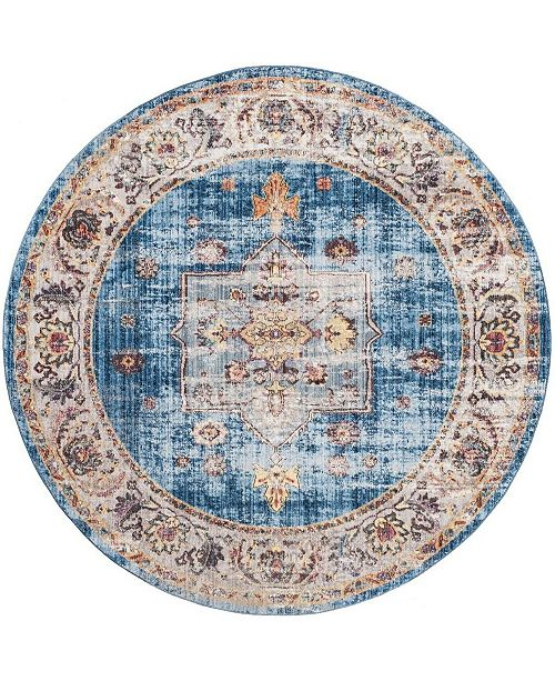 Safavieh Bristol Blue and Ivory 7' x 7' Round Area Rug