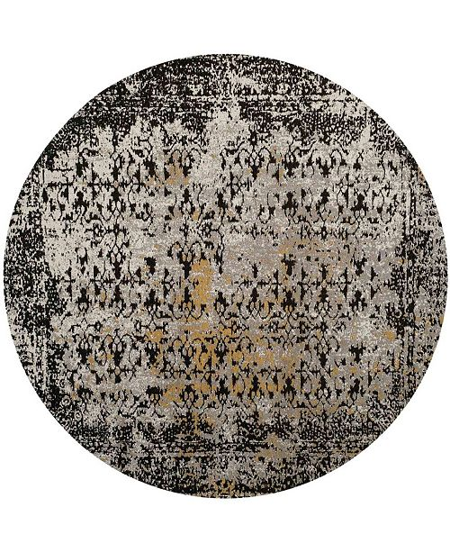 Safavieh Classic Vintage Black and Silver 6' x 6' Round Area Rug
