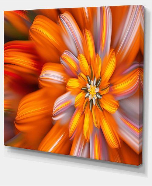 "Design Art Designart Massive Orange Fractal Flower Floral Canvas Art Print - 20"" X 12"""