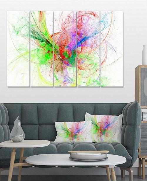 Designart Multi Color On White Fractal Design Canvas Art - 60 X 28 - 5  Panels