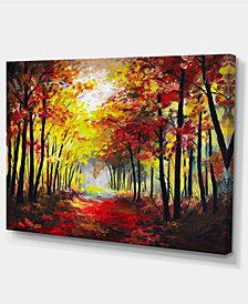 "Designart Walk Through Autumn Forest Landscape Art Print Canvas - 32"" X 16"""