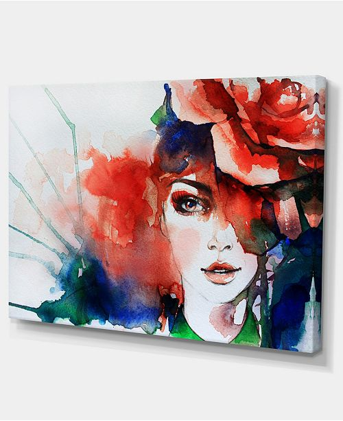 "Design Art Designart Woman With Rose Illustration Abstract Canvas Artwork - 32"" X 16"""
