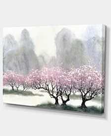 "Designart Flowering Trees At Spring Landscape Art Print Canvas - 32"" X 16"""