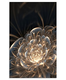 "Designart Fractal Flower With Golden Rays Floral Art Canvas Print - 30"" X 40"""