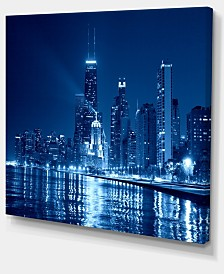 "Designart Blue Chicago Skyline Night Cityscape Photo Canvas Print - 40"" X 30"""