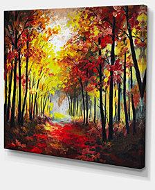 "Designart Walk Through Autumn Forest Landscape Art Print Canvas - 20"" X 12"""