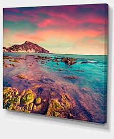 "Designart Giallonardo Beach Colorful Sunset Canvas Print - 20"" X 12"""