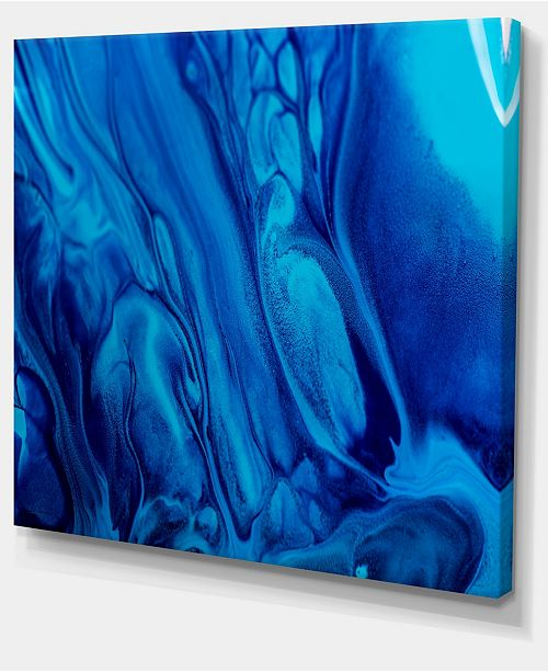 Designart Dark Blue Abstract Acrylic Paint Mix Abstract Art On Canvas 40 X 30
