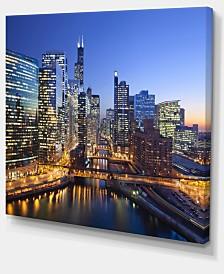 "Designart Chicago River With Bridges At Sunset Cityscape Canvas Print - 40"" X 30"""
