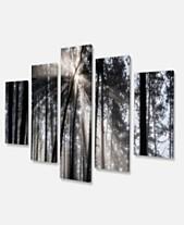 0e90c10a0ba Designart Sunbeams Through Black White Forest Forest Canvas Wall Art Print  - 60