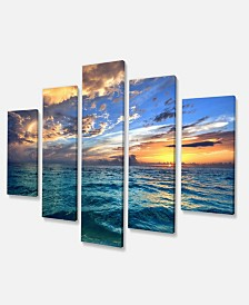 "Designart Exotic Tropical Beach At Sunset Canvas Art - 60"" X 32"" - 5 Panels"