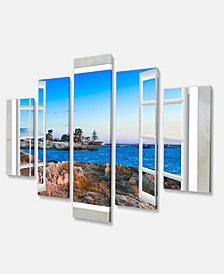 "Designart Open Window To Blue Oversized Landscape Wall Art Print - 60"" X 32"" - 5 Panels"