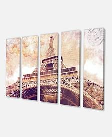 """Designart Paris Paris Eiffel Towerparis Postcard Design Cityscape Canvas Print - 60"""" X 28"""" - 5 Panels"""