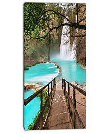 "Designart Stairway Into Beautiful Waterfall Oversized Landscape Canvas Art - 16"" X 32"""