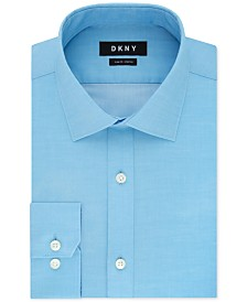 DKNY Men's Slim-Fit Stretch Gray Solid Dress Shirt