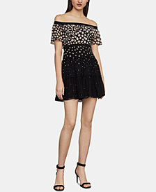 BCBGMAXAZRIA Ayanne Off-The-Shoulder Fit & Flare Dress