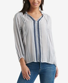 Lucky Brand Striped Ruffle-Neck Top