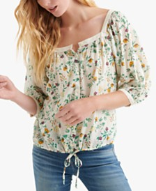 Lucky Brand Cotton Floral-Print Drawstring-Hem Blouse