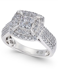Diamond Double Halo Engagement Ring (1 ct. t.w) in 14k White Gold