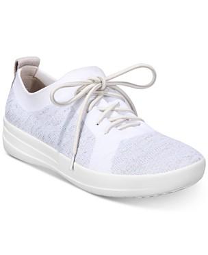 핏플랍 F-스포티 우버니트 스니커즈 - 메탈릭실버 화이트 FitFlop F-Sporty Uberknit Sneakers,Metallic Silver/White