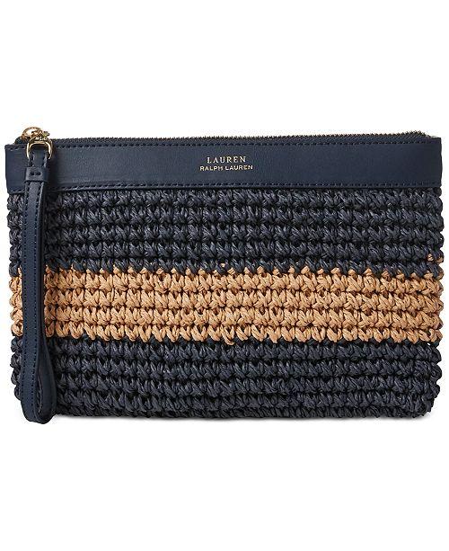 Lauren Ralph Lauren Tolton Crochet Straw Wristlet