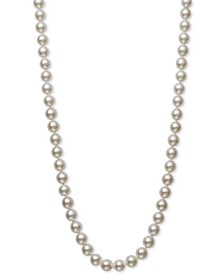 "Cultured Akoya Pearl (7-7-1/2mm) 16"" Strand Necklace in 14k Gold, Created for Macy's"