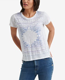 5d6ec1e17551 Lucky Brand Scarf-Print Short-Sleeve Top