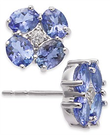 Tanzanite (1-3/4 ct. t.w.) & Diamond Accent Stud Earrings in 14k White Gold