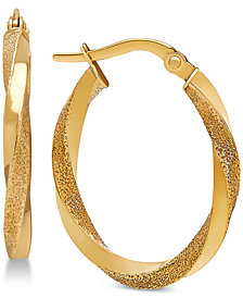 Textured Twist Hoop Earrings in 10k Gold