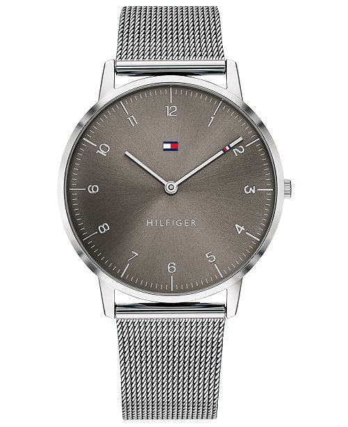 Tommy Hilfiger Men's Stainless Steel Mesh Bracelet Watch 40mm Created For Macy's