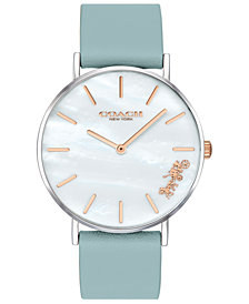COACH Women's Perry Teal Leather Strap Watch 36mm