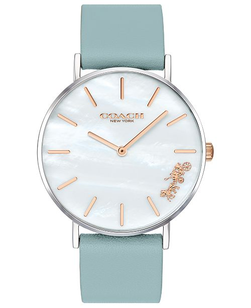 COACH Women's Perry Teal Leather Strap Watch 36mm Created for Macy's