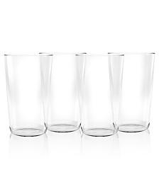TarHong Simple Clear Plastic Jumbo Glasses, Set of 4