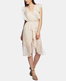 1.STATE Printed Faux-Wrap Dress