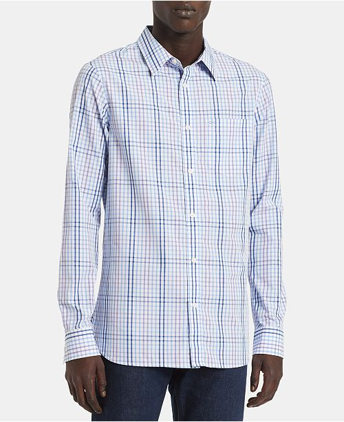 Calvin Klein Men's Big & Tall Slim-Fit Plaid Shirt