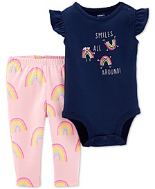 Baby Girls 2-Pc. Rainbow Graphic Cotton Bodysuit & Pants Set