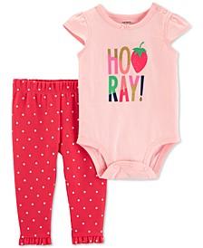 Baby Girls 2-Pc. Hooray Graphic Cotton Bodysuit & Pants Set