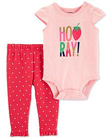 Carter's Baby Girls 2-Pc. Hooray Graphic Cotton Bodysuit & Pants Set