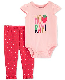Carter's Baby Girls 2-Pc. Hooray Graphic Cotton Bodysuit & Pants Set