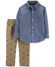 50b19a9a5966 Carter's Baby Boys 2-Pc. Cotton Chambray Shirt & Dinosaur Pants