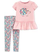 47da6d0339afe Carter's Baby Girls 2-Pc. Hedgehog Graphic Tunic & Floral-Print Leggings Set